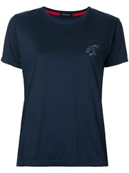 Loveless Pocket T Shirt Women Cotton Rayon 34 Blue