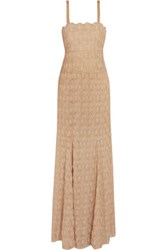 Missoni Metallic Crochet Knit Maxi Dress Beige