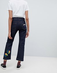 Iceberg Straight Leg Crop Jeans With Floral Applique Blue
