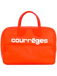 Courreges Logo Print Tote Women Cotton Lamb Skin Polyamide One Size Yellow Orange
