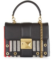 Sonia Rykiel Multi Stripe Leather Cross Body Bag Black