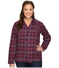 Columbia Plus Size Simply Put Ii Flannel Shirt Purple Dahlia Large Plaid Women's Long Sleeve Button Up Red