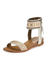 Cynthia Vincent Fayette Leather Ankle Wrap Sandal Nude Combo