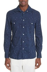 Eidos Napoli Discharge Slim Fit Sport Shirt Blue