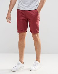 Asos Skinny Chino Shorts In Burgundy Berry Red
