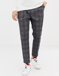 United Colors Of Benetton Cropped Check Trouser Grey