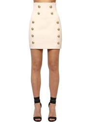 Balmain Wool Grain De Poudre Mini Skirt White