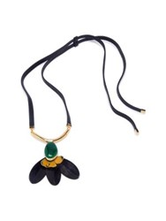 Marni Petal Horn And Leather Pendant Necklace Navy Pale Gold