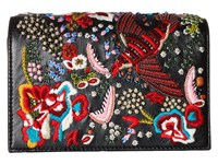 Alice Olivia Embroidered Leather Bird Party Clutch Black Clutch Handbags