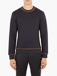 Wooyoungmi Contrast Stitched Sweater Navy