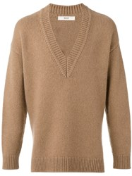 Bally Low V Neck Jumper Brown