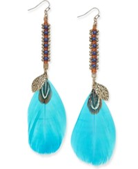 Macy's Gold Tone Beaded Blue Feather Drop Earrings Multi