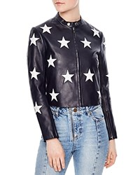Sandro Felicy Embellished Leather Jacket Navy Blue