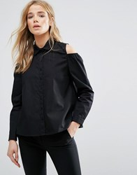 New Look Cold Shoulder Balloon Sleeve Shirt Black