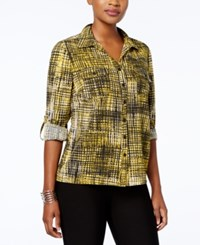 Ny Collection Petite Plaid Utility Shirt Curry Netwire