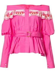 Peter Pilotto Embroidered Off Shoulder Top Pink Purple