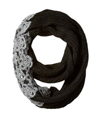 Betsey Johnson Winter Bloom Infinity Scarf Black Charcoal Scarves