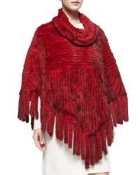 Belle Fare Knitted Mink Fur Fringe Poncho Red
