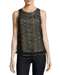 Joie Bria Heart Lace Sleeveless Top Black