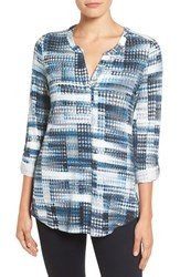 Nydj Women's Henley Knit Top Lady Luck Houndstooth Blue