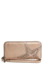 Vince Camuto Taz Leather Zip Around Wallet Pink Rose Gold