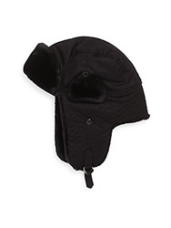 Saks Fifth Avenue Faux Fur Trimmed Quilted Trapper Hat Black