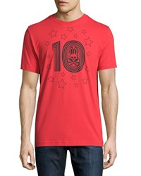 Psycho Bunny Crew Neck Graphic Tee Brilliant Red