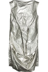 Rick Owens Metallic Coated Cotton Tunic Silver