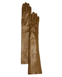 Bloomingdale's Long Leather Gloves Olive