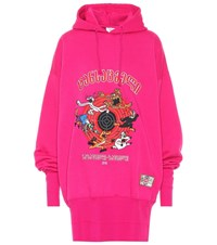 Vetements Printed Oversized Cotton Hoodie Pink