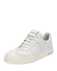 Valentino Fly Crew Lace Up Leather Low Top Sneaker White
