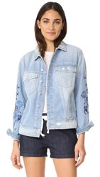 7 For All Mankind Boyfriend Jacket With Blue Roses Vintage Air Light Embroidered