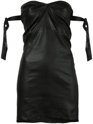 Rta Fitted Strapless Dress Women Silk Lamb Skin Xs Black