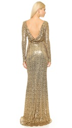 Badgley Mischka Collection Long Sleeve Sequin Gown Gold