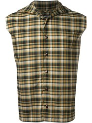 Raf Simons Plaid Sleeveless Hoodie Button Down Shirt Green