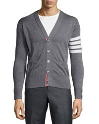 Thom Browne Merino Wool V Neck Cardigan With Four Bar Stripe Navy