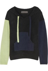 The Elder Statesman Baja Hooded Color Block Cashmere Sweater Black