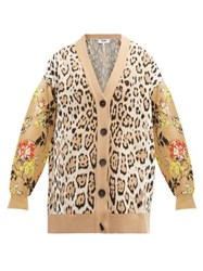 Msgm Leopard And Floral Intarsia Cardigan Beige