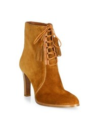 Michael Kors Odile Suede Lace Up Booties Luggage Black
