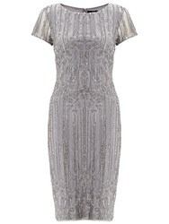 Adrianna Papell Mid Length Beaded Cocktail Dress Silver Grey