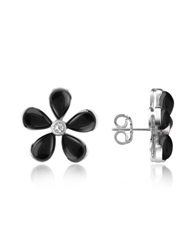 Del Gatto Diamond Gemstone Flower 18K Gold Earrings Black Onyx