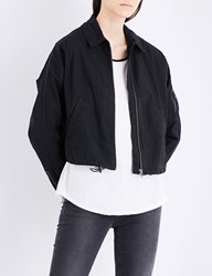 James Perse Batwing Stretch Cotton Bomber Jacket Black