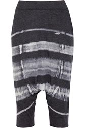 Raquel Allegra Cropped Tie Dyed Cotton Blend Jersey Pants