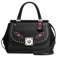 Coach Western Rivets Drifter Leather Carryall Grab Bag Black