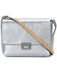 Brunello Cucinelli Perforated Detail Cross Body Bag Metallic