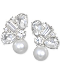Jewel Badgley Mischka Crystal And Imitation Pearl Stud Earrings Silver