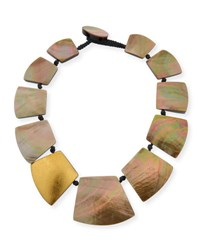 Viktoria Hayman Straza Mother Of Pearl Station Necklace Yellow Pink
