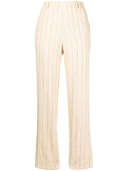 Forte Forte Pinstriped Twill Trousers Neutrals