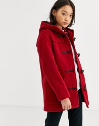 Gloverall Gloveral Mid Length Duffle Coat In Wool Blend Red