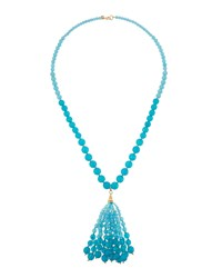Lydell Nyc Ombre Beaded Bubble Tassel Necklace Blue